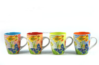Flower personalized ceramic cup mug with big handle