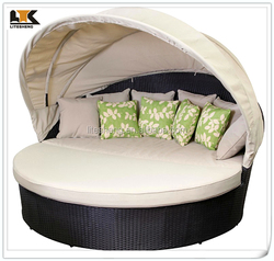 2015 PE Rattan Outdoor Bed Furniture Beach Sun Lounge Daybed Canopy Bed