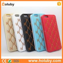 China Factory Embroidered Checkered Pattern Stand Side Flip Case for iPhone 6S 6 TPU+ PU Leather Cover