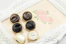 Black brown white buttons pearl combined button shirt button