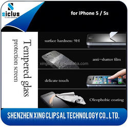 Wholesale cell phone accessories, tempered glass screen protector used mobile phones, for iphone 5 5s