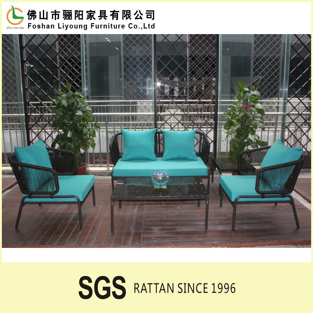 Modern hotsale outdoor garden pe plastic rattan rope for Sofa rattan jardin