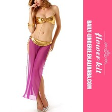 New lady sexy lingerie hot Golden bra +Perspective dress+Handcuffs erotic lingerie 2 color Pole dancing sexy costumes