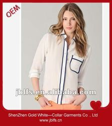 Easily matched classic fit pocket office shirts for ladies