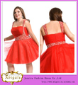 Nuevo diseño de gasa de color rojo corto/mini plaza de rebordear cremallera de la espalda sin mangas de cumpleaños de vestidos d