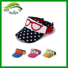 stars embroidered children visor baseball cap for wholesale