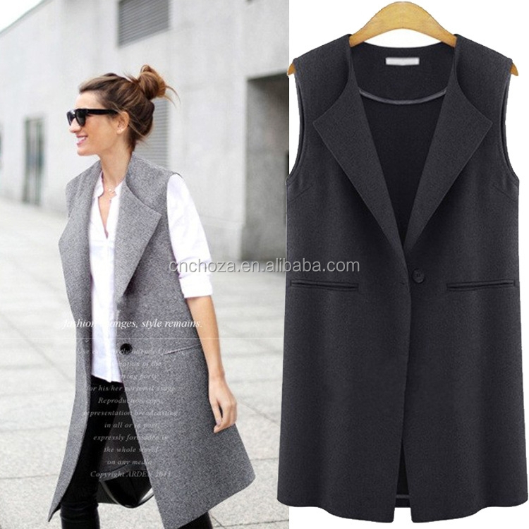 Z60099Y Hot Sale Ladies Long Fashion Vest Coat Sleeveless ...