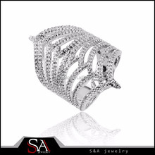 Fashion Jewelry micro pave setting 925 Sterling Silver jewelry ring