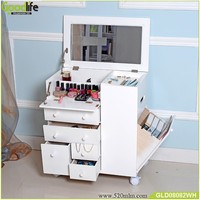 Aug 2015 NEW style movable wooden makeup cabinet with mirror