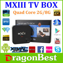 Better than MX2, Cheaper than M8, Quad Core Android TV Box MX3 2.0GHz 8G ROM 2.4G/5G Wifi 4K Android Amlogic S802 MXIII Tv Box