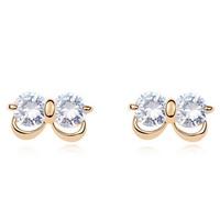 Fashion Elegant Women Rhinestone Ear Stud Earrings Infinity Earring