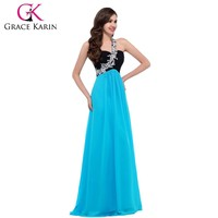 Grace Karin New Mature Ladies Turquoise One Shoulder Chiffon Evening Dress Long Wholesale CL4447-3