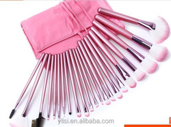 22pcs Makeup Brush Set with Pink Bag Pink,make up brush set with Pink Roll up Leather PU Bag
