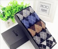 031002-H5 High quality Small diamond thick rabbit wool fabric business tube man socks 2015