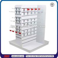 TSD-W1294 Custom free standing 4 way fabric store fixtures,wooden slatwall display racks,department store equipment
