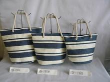 Stripe paper straw beach bag,cotton handle