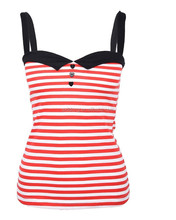 Li Dong Sailor Striped Matrosen Heart Buttoned TOP - Rot Rockabilly