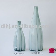 Stripe Murano Glass Vase in Grey