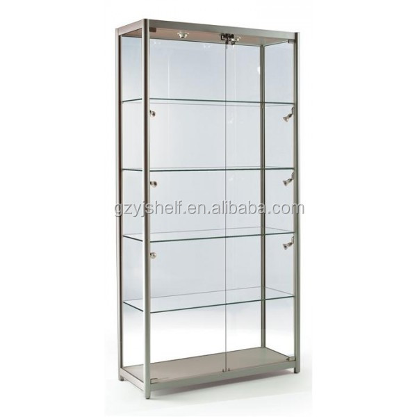 Ikea Malm Attached Nightstand ~ Clear glass display cabinet with adjustable shelves spectacles glasses