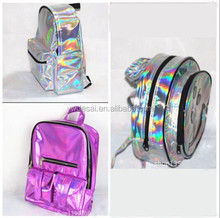 2014 New Arrival Silver Hologram bag Laser Multicolor Men/Women Leather hologram Backpack