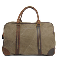 High density Cotton Canvas leather duffle bag,weekend bag