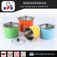 22cm 4PCS 410 Stainless Steel Colored High Soup Pot
