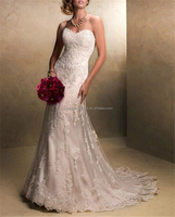 Fashion Lady White Lace Sweetheart Formal Mermaid Wedding Dresses Bridal Gown Dress wedding dresses with long trains FXL-950