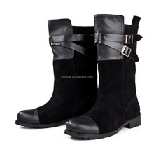 Low heel women boots private oem ankle high boots front belts stylish ladies winter boots