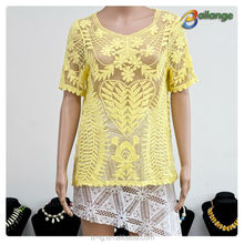 Bailange blouses & tops product type lace blouse new fashion hollow out blouses in crochet