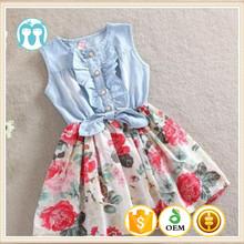 Estilo coreano nueva moda bebé grande vestido, hermoso vestido de la muchacha grande para el bebé del verano falda de jean
