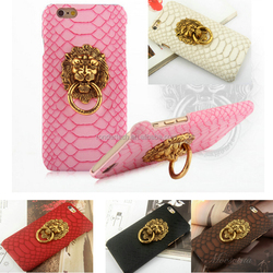 2015 new fashion Snake pattern leather phone case with Lion head metal ring stand holder for iphone 6 6plus 5/5s