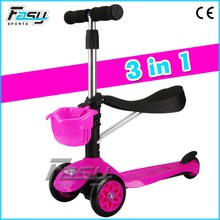 Fasy multi function pink kick scooter, kids mini scooter with seat