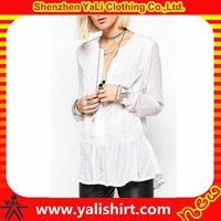 New arrival custom cheap sexy white cotton long sleeve lotus leaf bottom v neck design of blouse models