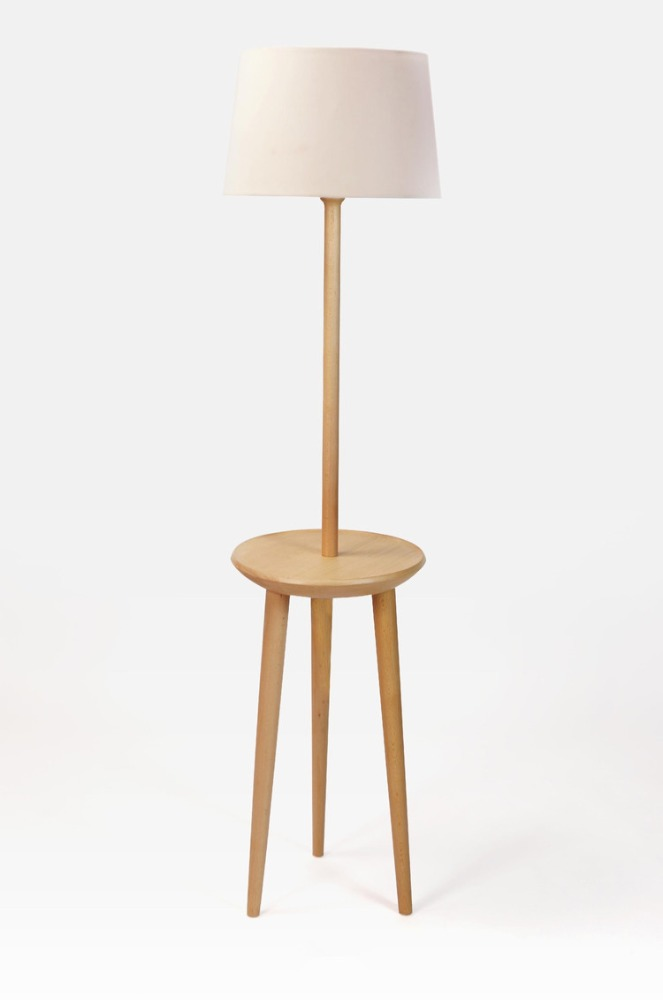 Modern Tripod Wood Floor Lamp With Linen Cloth Shade