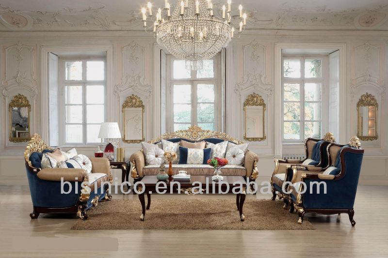 Classic European Royal Design Sofa Luxury Wood Carved Sofa Set Living Room