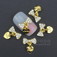 2015 New 3D Nail Art Decorations Gold Bow With Love Heart Pandent DIY Glitter Rhinestones For Alloy Nails Tools