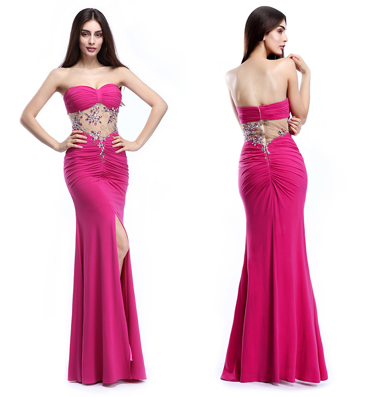 Sleeveless Beaded Side Slit Prom Dresses Mature Sexy Peach Color ...