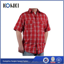 Hombres de moda de tela escocesa roja encargo camisa con botones
