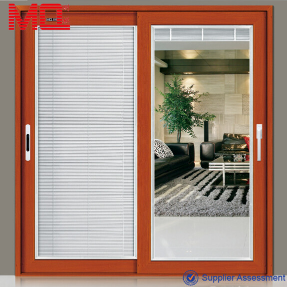 Aluminium Large Sliding Glass Doors With Inside Blinds Shutter Main