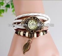 100pcs/lot HOT Women Genuine Leather Copper Vintage Watch Butterfly Leaf Tower Bracelet Wristwatches quartz Wrap watch Wholesale