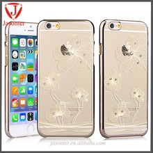 Beautiful Flower diamond Hard Crystal Clear transparent Case cover plating PC moblie phone case for iphone 6