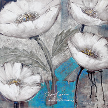 Wholesale Simple White Lotus Flower Oil Painting on canvas