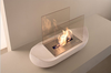 2015 new mini oval ethanol black metal/glass table fireplace in white