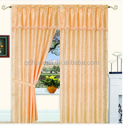 polyester jacquard colorful cheap window curtain with simple valance,taffeta liner,tassels