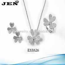 E&N new fashion micro pave setting 925 silver jewelry sets limition brand