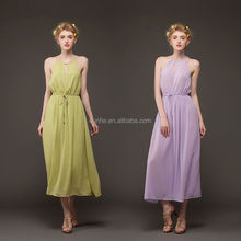 2015 new design modern round halter neck long evening dress for ball cocktail
