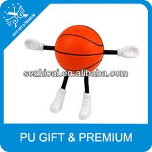 Custom basketball ball hand relax ball basketball ball design stuffed toy with long legs cheap promotional gift items