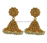 indian style gold jhumka earrings big design for women