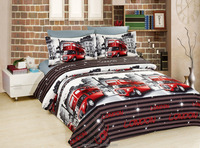 100% polyester 3D Bus disperse printed luxury bedding set 3D Duvet cover set