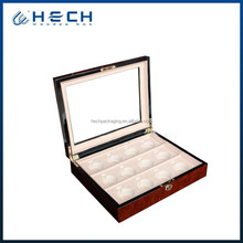 12 Watch Box mens red wood display glass top jewelry case